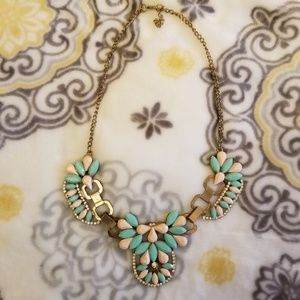 Peach and Teal Statement Necklace